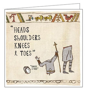 Woodmansterne Hysterical Heritage heads shoulders knees and toes Blank humour card Nickery Nook
