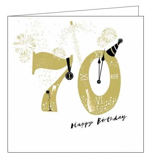Woodmansterne Lisa Hunt Merriment Happy 70th birthday card Nickery Nook