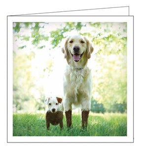 Woodmansterne Loose Leashes dirty duo muddy dogs blank card Nickery Nook