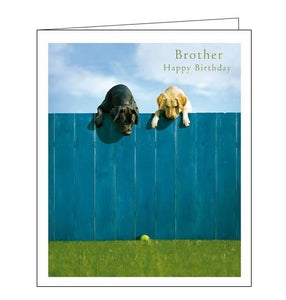 Woodmansterne Loose Leashes dogs out of the park brother birthday card Nickery Nook