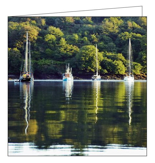 Woodmansterne National Trust river fal boats cornwall blank card Nickery Nook