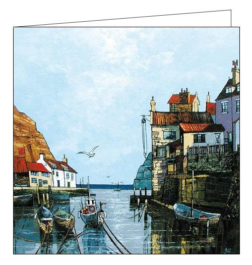 Woodmansterne Northern Light Staithes yorkshire seaside Birthday card Nickery Nook