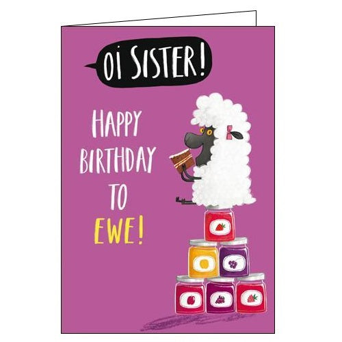 Woodmansterne Oi lamb sister birthday card Nickery Nook