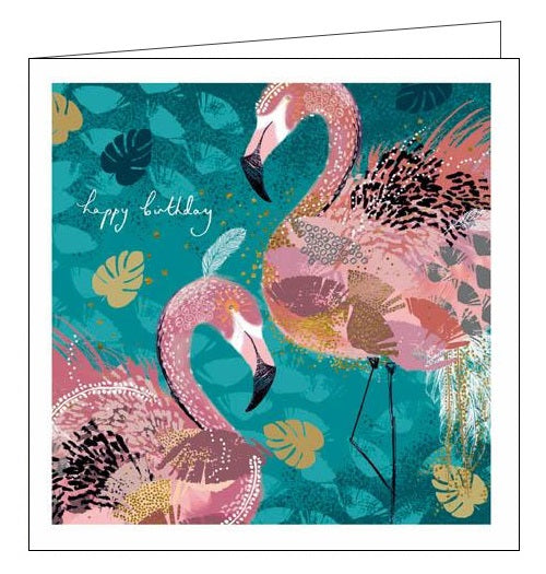Woodmansterne Opium Emma Grant Happy Birthday flamingos birds card Nickery Nook