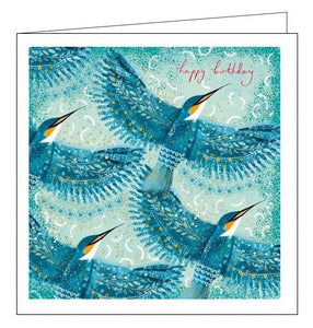 Woodmansterne Opium Kingfisher birds Happy Birthday card Nickery Nook