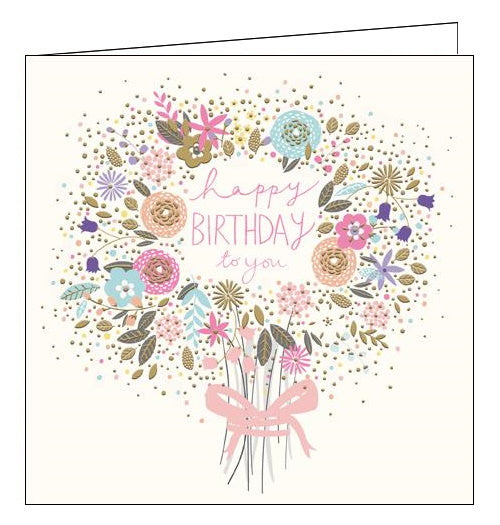 Woodmansterne Peach and Prosecco bouquet Birthday card Nickery Nook
