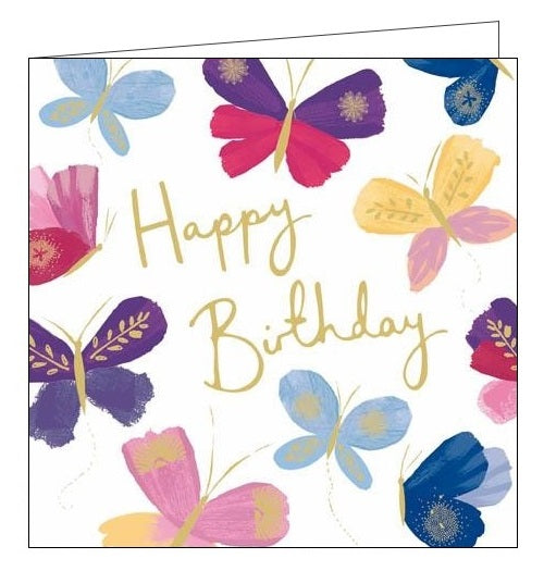 Woodmansterne Pink Butterflies Happy Birthday card floral Nickery Nook new