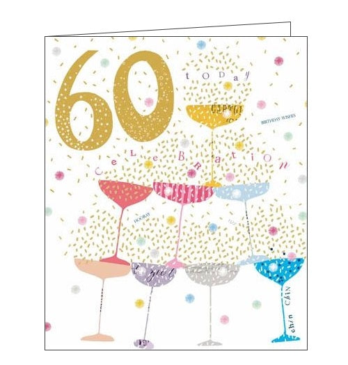 Woodmansterne Pink Claire Hocking 60 today 60th Happy birthday card Nickery Nook