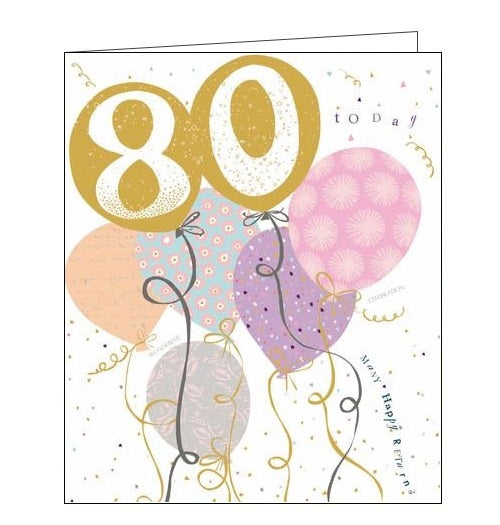 Woodmansterne Pink Claire Hocking 80 today 80th Happy birthday card Nickery Nook