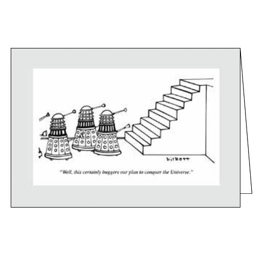Woodmansterne Punch Magazine cards daleks v stairs blank card
