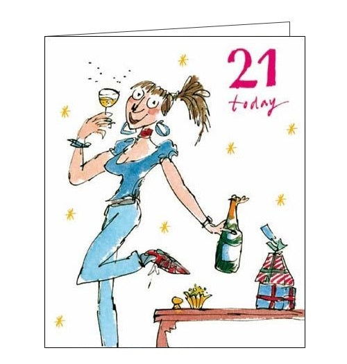 Woodmansterne Quentin Blake 21 today happy 21st birthday card for her Nickery Nook