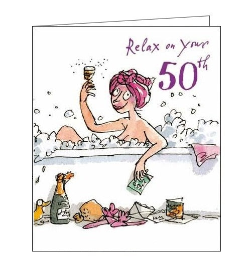 Woodmansterne Quentin Blake 50 today birthday card bubble bath Nickery Nook