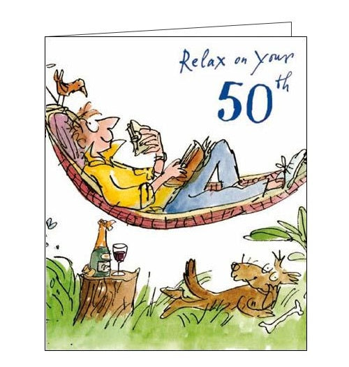 Woodmansterne Quentin Blake 50 today birthday card hammock Nickery Nook