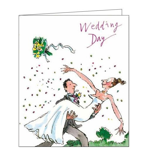 Woodmansterne Quentin Blake Congratulations on your wedding day Tossing the bouquet Nickery Nook front