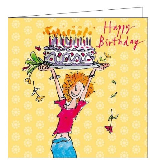 Woodmansterne Quentin Blake Happy Birthday Birthday card for her jump for cake Nickery Nook
