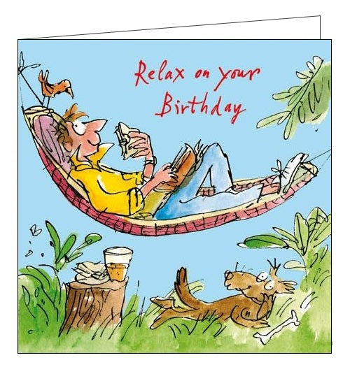 Woodmansterne Quentin Blake Happy Birthday For him Hanging Around relaxing gardens card Nickery Nook