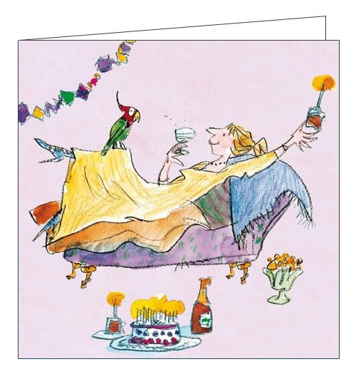 Woodmansterne Quentin Blake Happy Birthday and relax Birthday card for her wine cake Nickery Nook