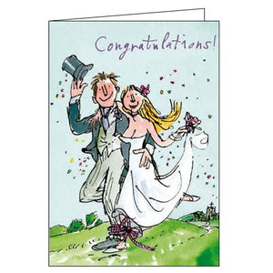 Woodmansterne Quentin Blake Tying the knot congratulations on your wedding day card Nickery Nook front
