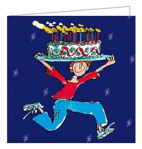 Woodmansterne Quentin Blake cake man Happy Birthday card Nickery Nook