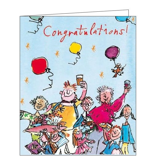 Woodmansterne Quentin Blake celebration congratulations well done card balloons Nickery Nook new
