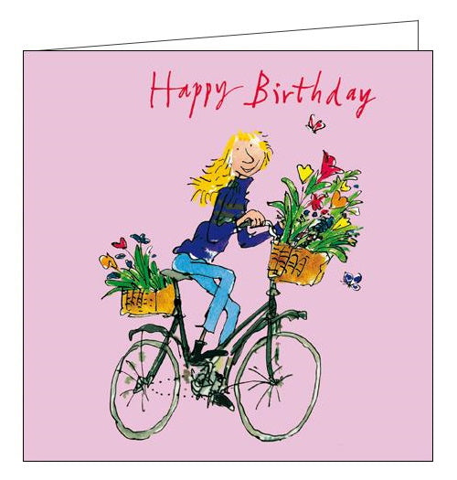 Woodmansterne Quentin Blake cycling birthday card Nickery Nook
