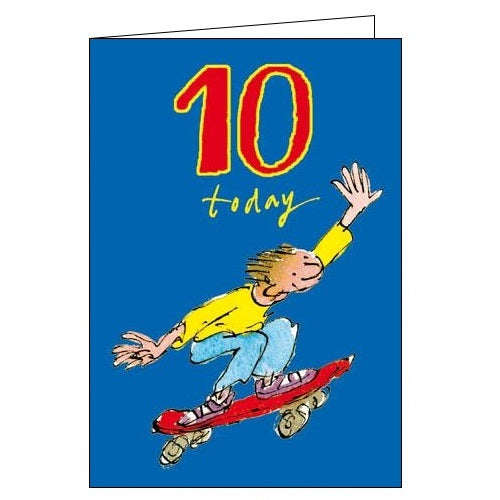 Woodmansterne Quentin Blake double digit skater Happy 10th Birthday card Nickery Nook