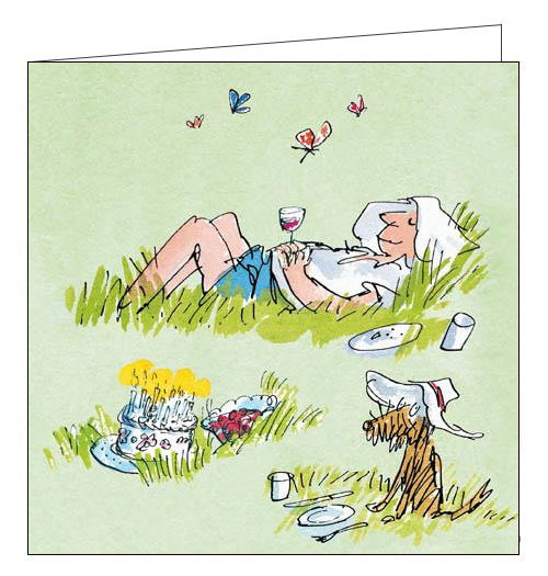 Woodmansterne Quentin Blake snoozing away Birthday card Nickery Nook