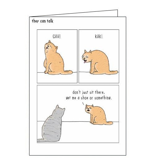 Woodmansterne They Can Talk cat furball funny blank card