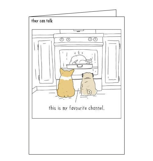 Woodmansterne They Can Talk dogs favourite channel humour blank card Nickery Nook