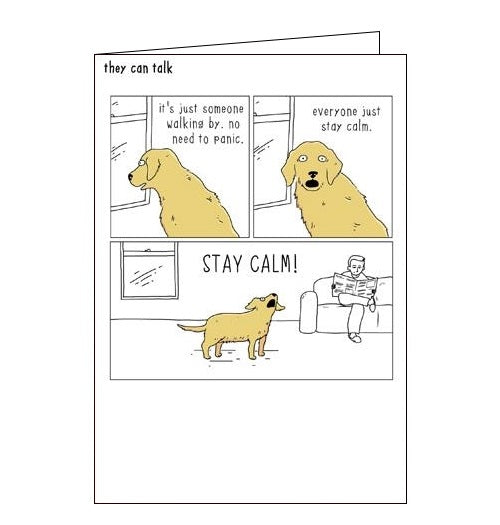 Woodmansterne They Can Talk no need to panic dogs humour black humour card Nickery Nook