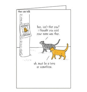 Woodmansterne They Can Talk thor cats humour black humour card Nickery Nook