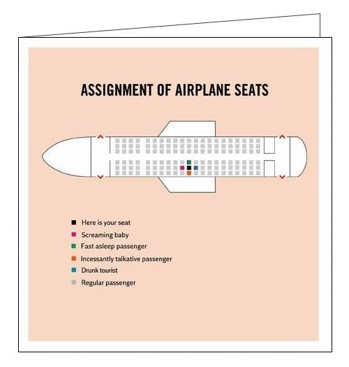 Woodmansterne Truth Facts assignment of airplane seats humour blank card Nickery Nook