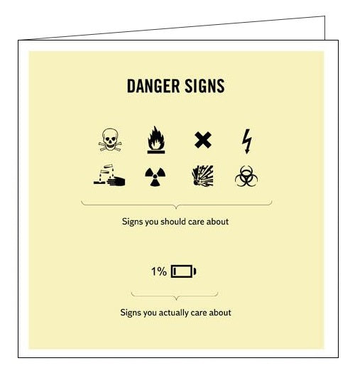 Woodmansterne Truth Facts danger signs humour blank card Nickery Nook