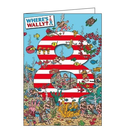 Woodmansterne Where's Wally 8 today Happy 8th Birthday Under the Sea Birthday card Nickery Nook