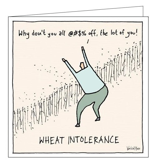 Woodmansterne World of Moose cards wheat intolerance pun blank card funny card