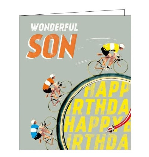 Woodmansterne alpha full speed ahead happy birthday son birthday card cycling Nickery Nook