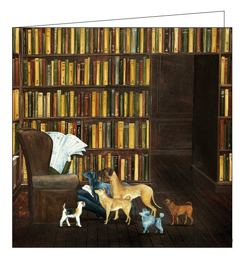 Woodmansterne art dogs library birthday card Nickery Nook