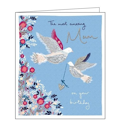 Woodmansterne birds and flowers roots and wings mum Birthday card Nickery Nook