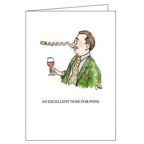 Woodmansterne cordell cartoon excellent nose for wine funny blank card