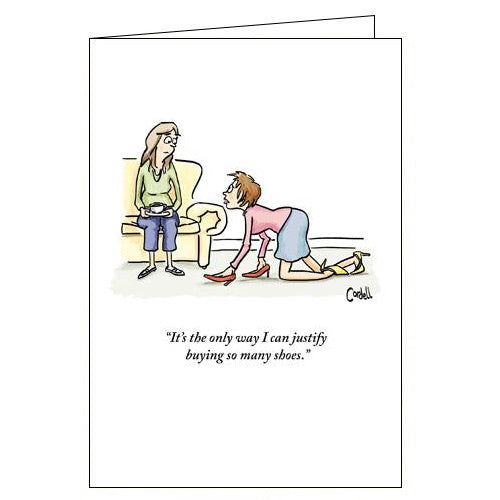 Woodmansterne cordell cartoon justify buying shoes funny blank card