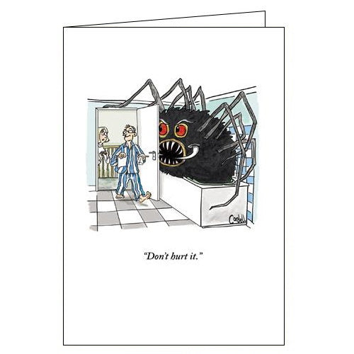 Woodmansterne cordell cartoon spider in the bathroom funny blank card