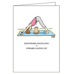 Woodmansterne cordell cartoon yoga with cats funny blank card
