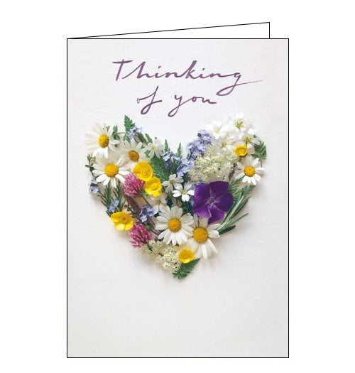 Woodmansterne flower heart thinking of you card Nickery Nook