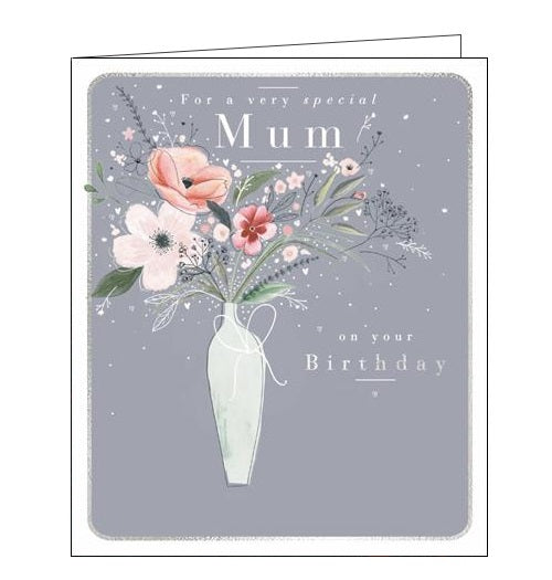 Woodmansterne flowers bouquet vase pink mum on your birthday happy Birthday card Nickery Nook