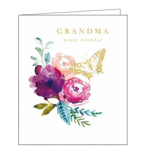 Woodmansterne flowers butterflies pink emma grant grandma happy Birthday card Nickery Nook