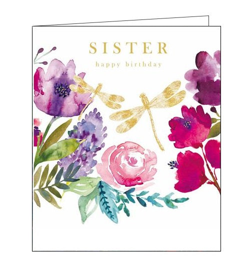 Woodmansterne flowers dragonflies pink emma grant sister happy Birthday card Nickery Nook