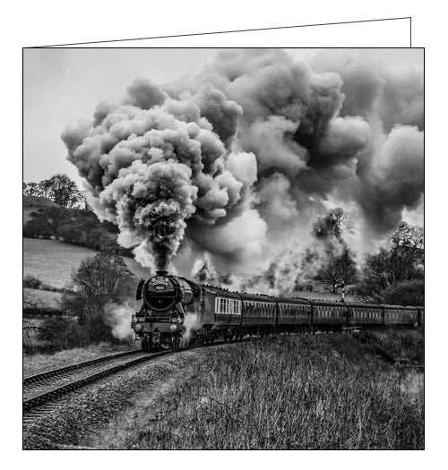Woodmansterne framed steam train flying scotsman blank card Nickery Nook