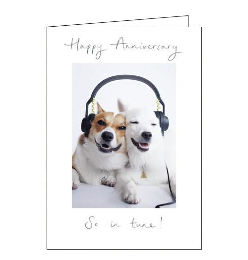 Woodmansterne in tune dogs anniversary card Nickery Nook