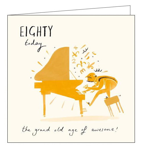Woodmansterne livin it piano Happy 80th Birthday card Nickery Nook