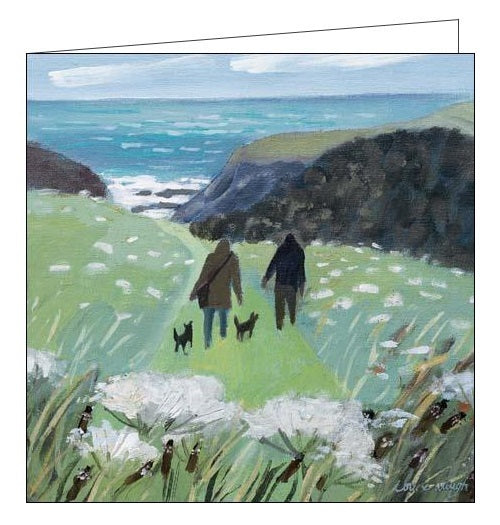 Woodmansterne louise waugh down to the beach art painting blank card Nickery Nook